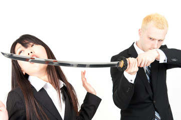 business team fighting