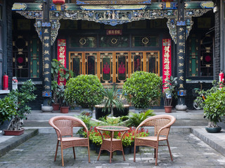 Patio at traditional Chinese Building of old compound