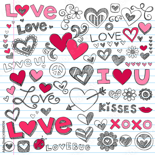 Love Hearts Sketchy Doodle