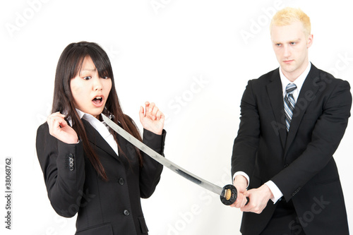 business team fighting