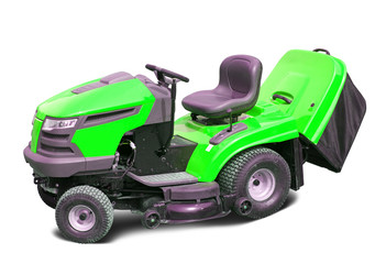 lawn mower  over white