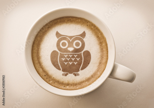 owl drawing latte art on coffee cup