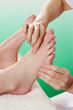 Detail woman having foot massage