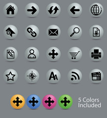 Navigation icon set with 5 different colors glossy button.