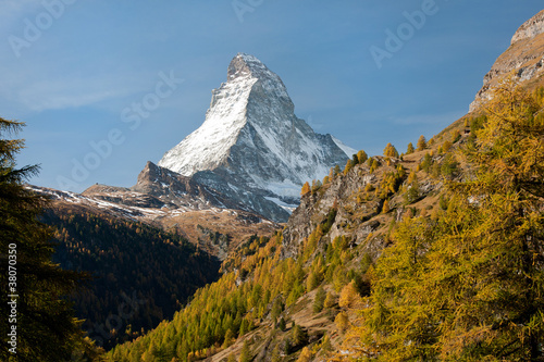 Matterhorn and colorful autumn country near Zermatt, Switzerland