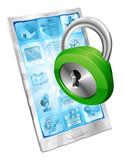Lock icon phone security concept