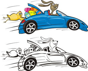crazy easter bunny and his car
