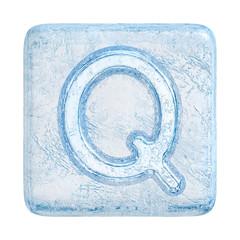 Ice cubes Font. Letter Q