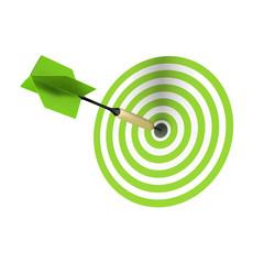Ein grüner Dart Pfeil steckt exakt in der Mitte der Zielscheibe