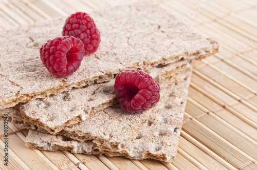 Fresh Raspberries over Crispbread