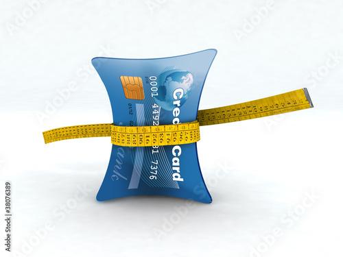 credit card in measuring tape