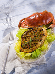 stuffed crab with green salad