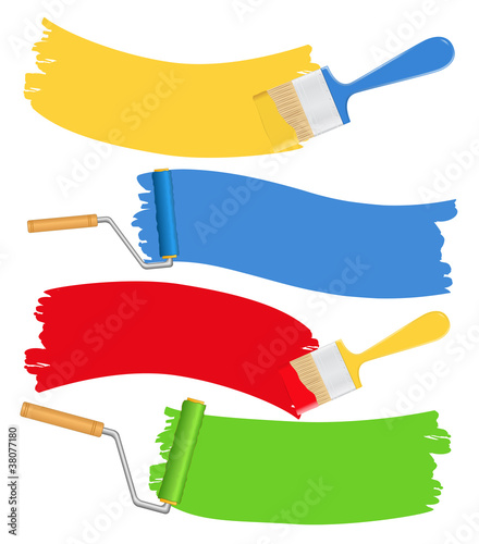 Vector brushes and rollers with paint