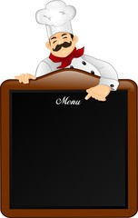 Chef with chalkboard