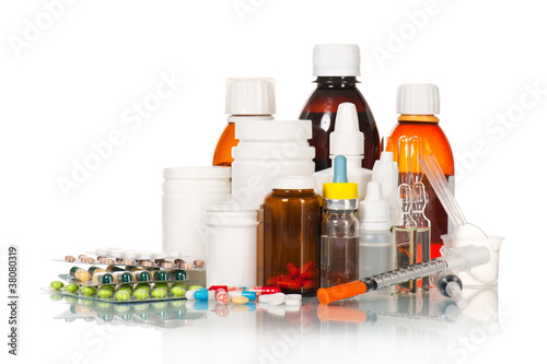Medical bottles and tablets