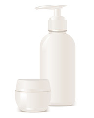 vector cosmetics soap and gel containers