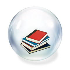 books inside bubble