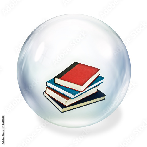 books inside bubble
