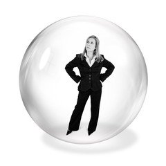 businesswoman in bubble