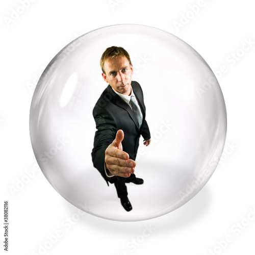 businessman in bubble