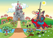 Panorama with medieval castle and knight. Vector illustration.