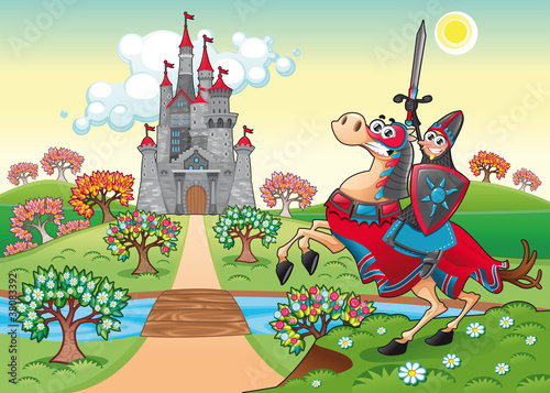 Poster Ridders Panorama with medieval castle and knight. Vector illustration.
