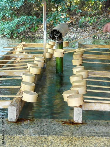 Japanese purification fountain in a Shinto or Buddhist temple