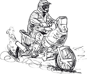 Sketch of motocross bike increase speed in track. Vector illustr