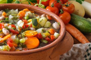 Minestrone di verdure, close-up