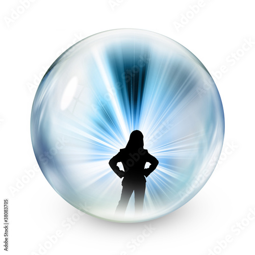Silhouette of woman in sphere