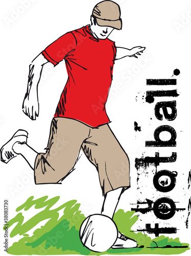 Soccer Player Kicking Ball. Vector illustration