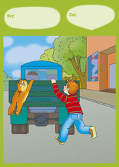a boy and a cat jumping into the back of the truck