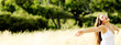 Leinwanddruck Bild - carefree woman panoramic