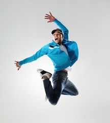 dancer jumping in mid air