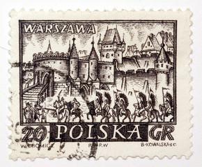 Polski znaczek pocztowy z lat 1950 - Warszawa