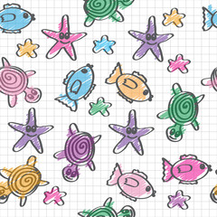 hand drawn seamless pattern with funny colored marine life