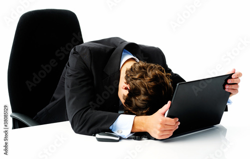 frustrated business laptop