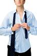 Man gets dressed for work