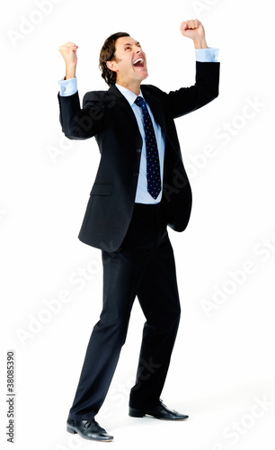 Winning businessman celebrating