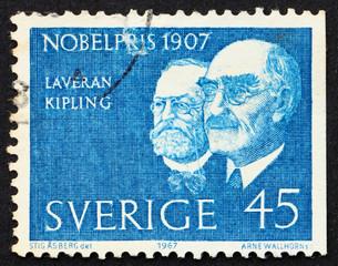 Postage stamp Sweden 1967 Laveran and Kipling