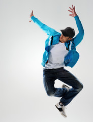 Male dancer jumping in midair