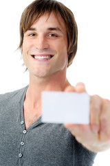 Happy man shows empty business card