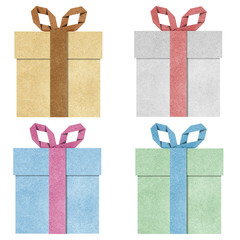 gift boxes with ribbon recycled  papercraft .