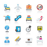 Airport and transportation icons - vector icon set