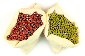 Organic Azuki and Mung Beans in Fabric bags.