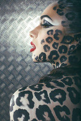 leopard body art and make up