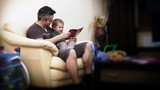 Father and Baby Boy Reading Stories,time lapse