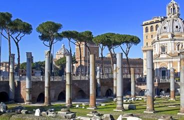 Foro Traiano - Colonne in granito grigio della navata centrale