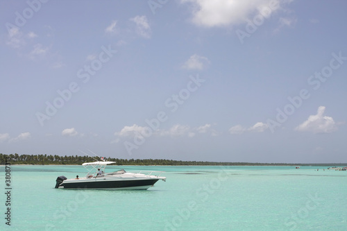 boat on the dominican sea