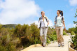Young women starting a hike